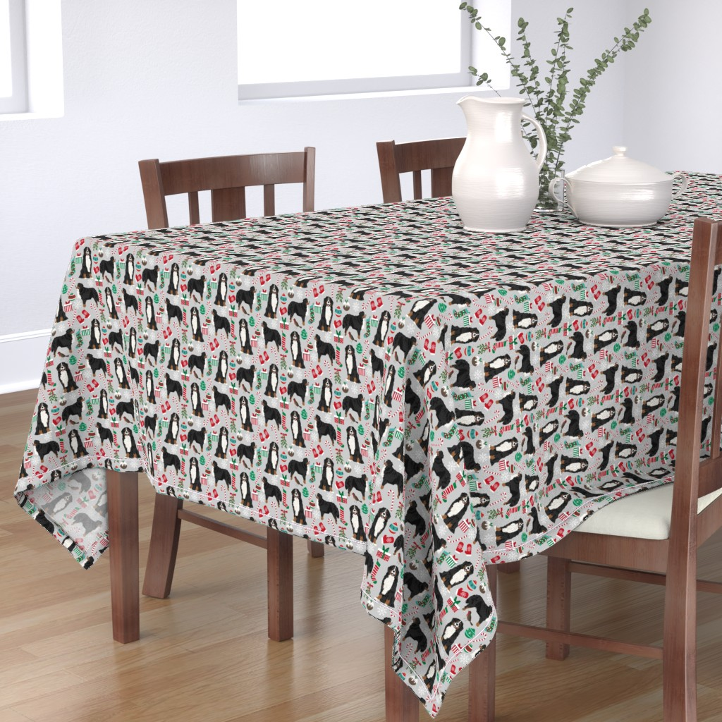 Bantam Rectangular Tablecloth featuring bernese mountain dogs christmas fabric cute dogs fabric xmas holiday dog design by petfriendly