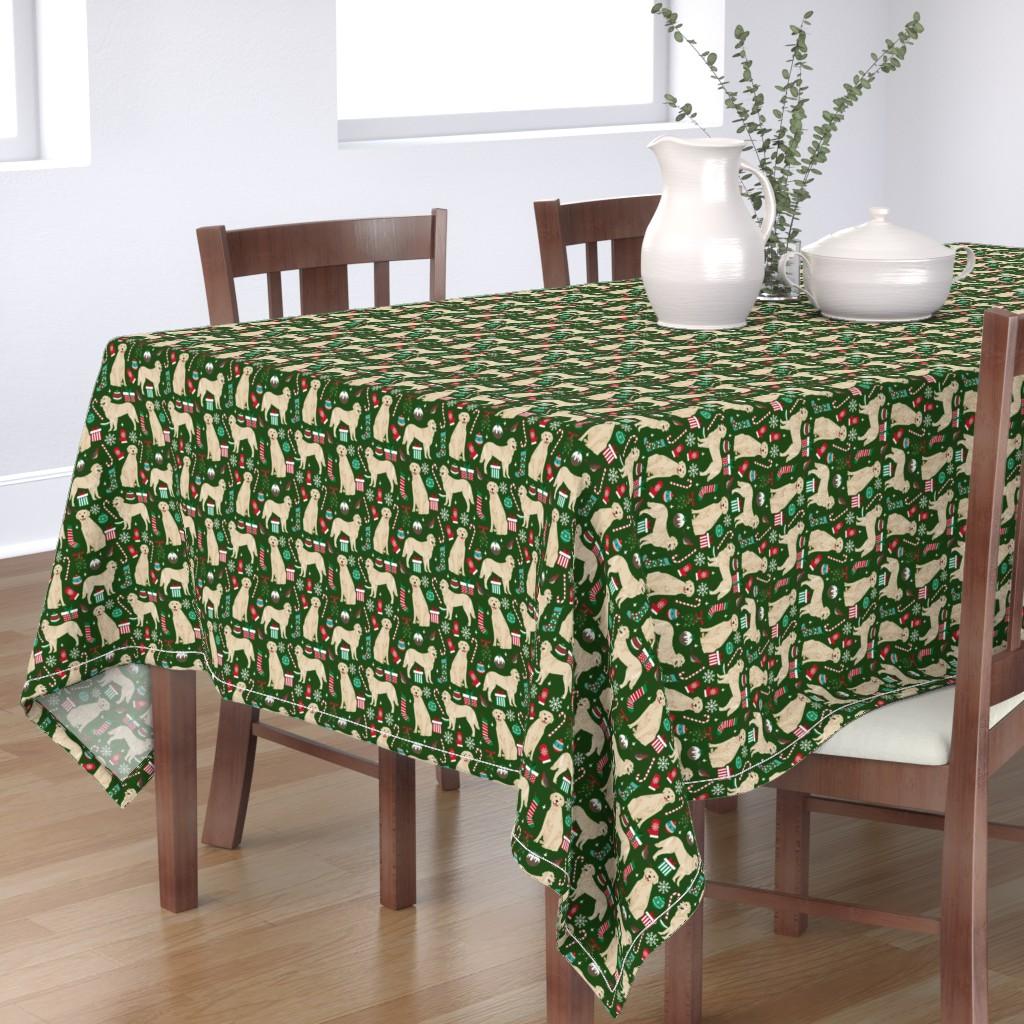 Bantam Rectangular Tablecloth featuring golden retriever dogs fabric cute xmas holiday dogs fabric dog christmas fabrics by petfriendly