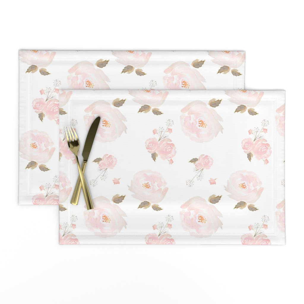 Lamona Cloth Placemats featuring Indy Bloom Blush Rose B by indybloomdesign