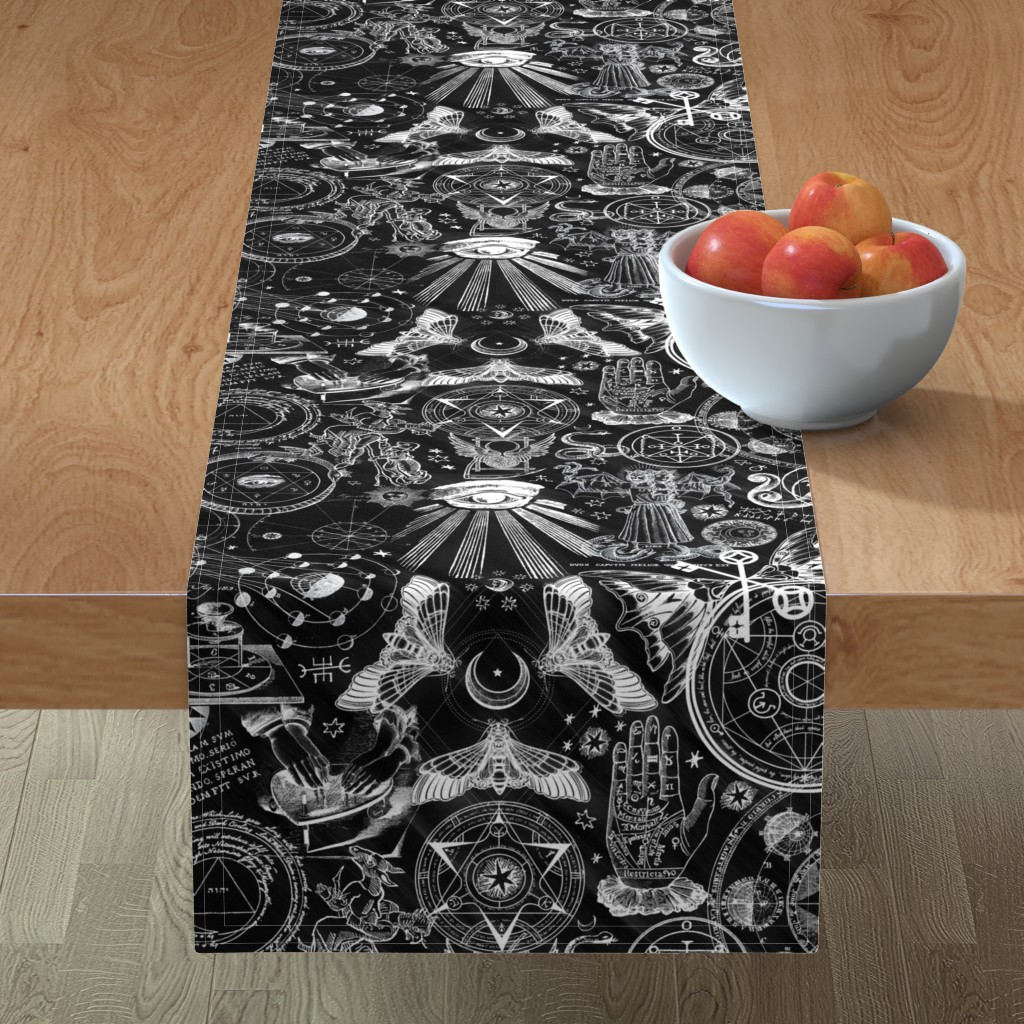 Minorca Table Runner featuring Black & White Haunted Occult by xoxotique