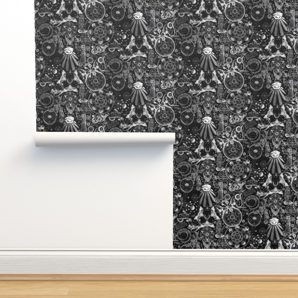 Isobar Durable Wallpaper featuring Black & White Haunted Occult by xoxotique