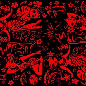 Tiki Temptress Red on Black
