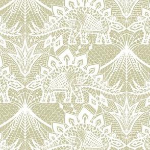 Stegosaurus lace - White / Gold