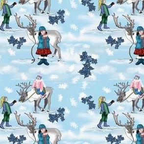 My Pet Reindeer with children in snow by Salzanos
