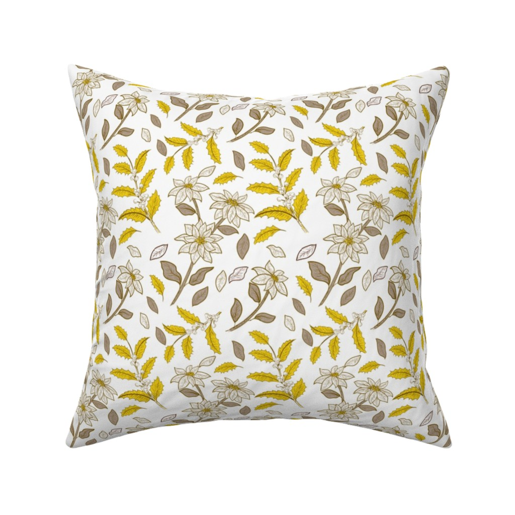 Catalan Throw Pillow featuring Pewter And Gold Holly -03 by diane555