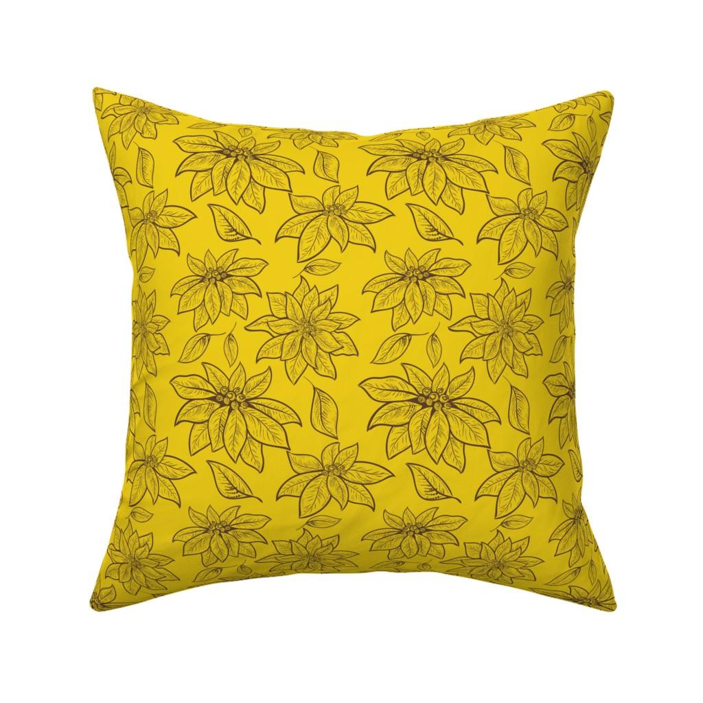 Catalan Throw Pillow featuring Golden Vintage Poinsettias by diane555
