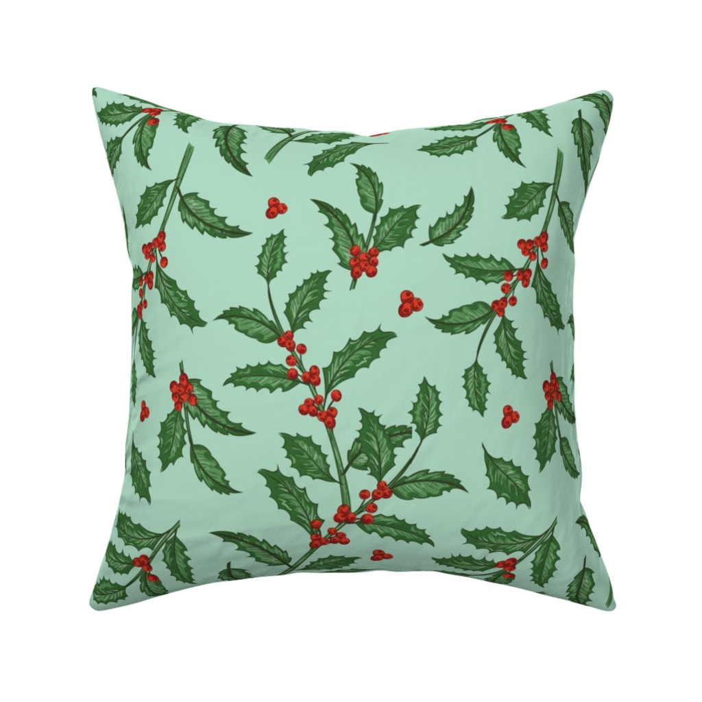 Catalan Throw Pillow featuring Vintage Holly  by diane555