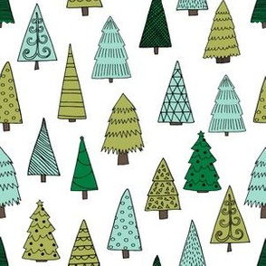 christmas trees // forest tree christmas holiday xmas forest green mint kids nursery baby's first christmas fabric