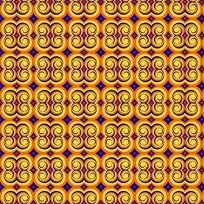 swirly orange, yellow, and blue