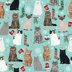 christmas cat fabric pattern print candy cane stocking mistletoe