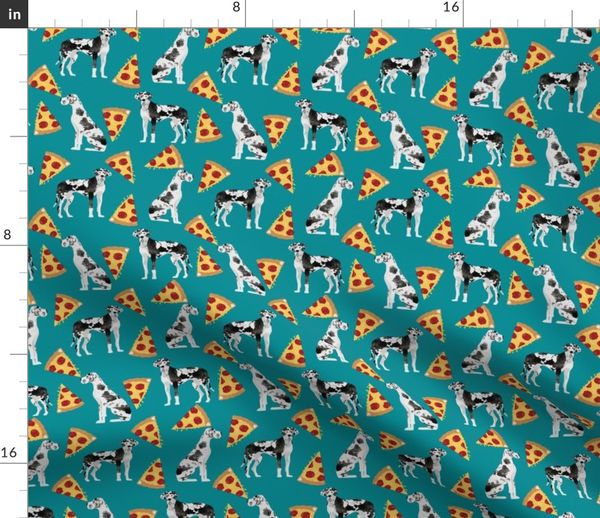 Moderne great dane pizza fabric cute dogs fabric - Spoonflower IE73
