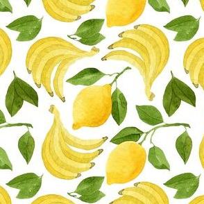 Bananas, Lemons and Green Leaves Pattern