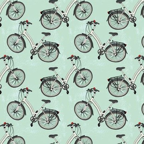 Bicycles Pattern on Blue Background