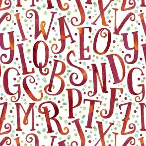 Bright Red Watercolor Letters Seamless Pattern