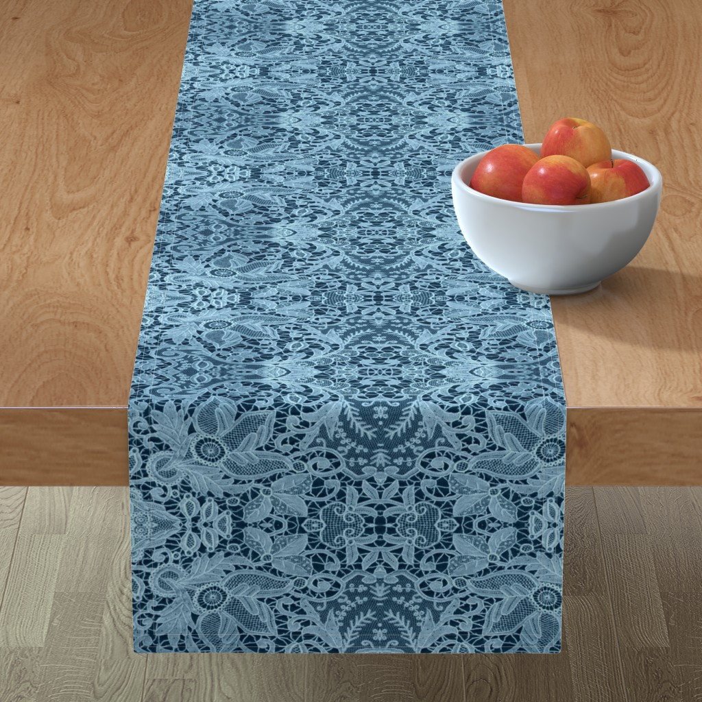 Minorca Table Runner featuring BLUE CHRISTMAS LACE by bluevelvet