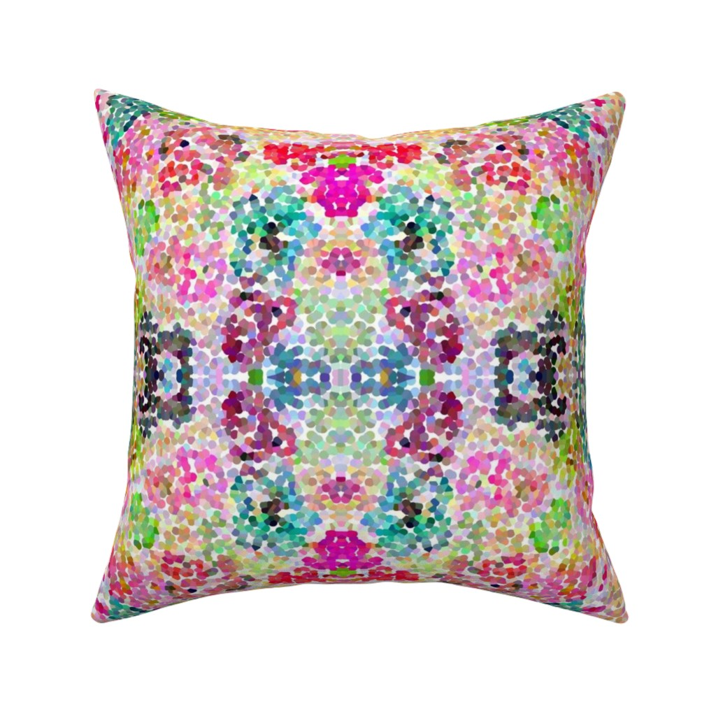 Catalan Throw Pillow featuring Pointillism Inspired Floral Print - Small by theartwerks