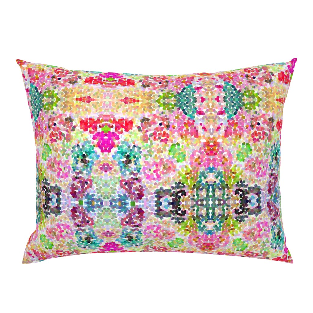 Campine Pillow Sham featuring Pointillism Inspired Floral Print - Small by theartwerks