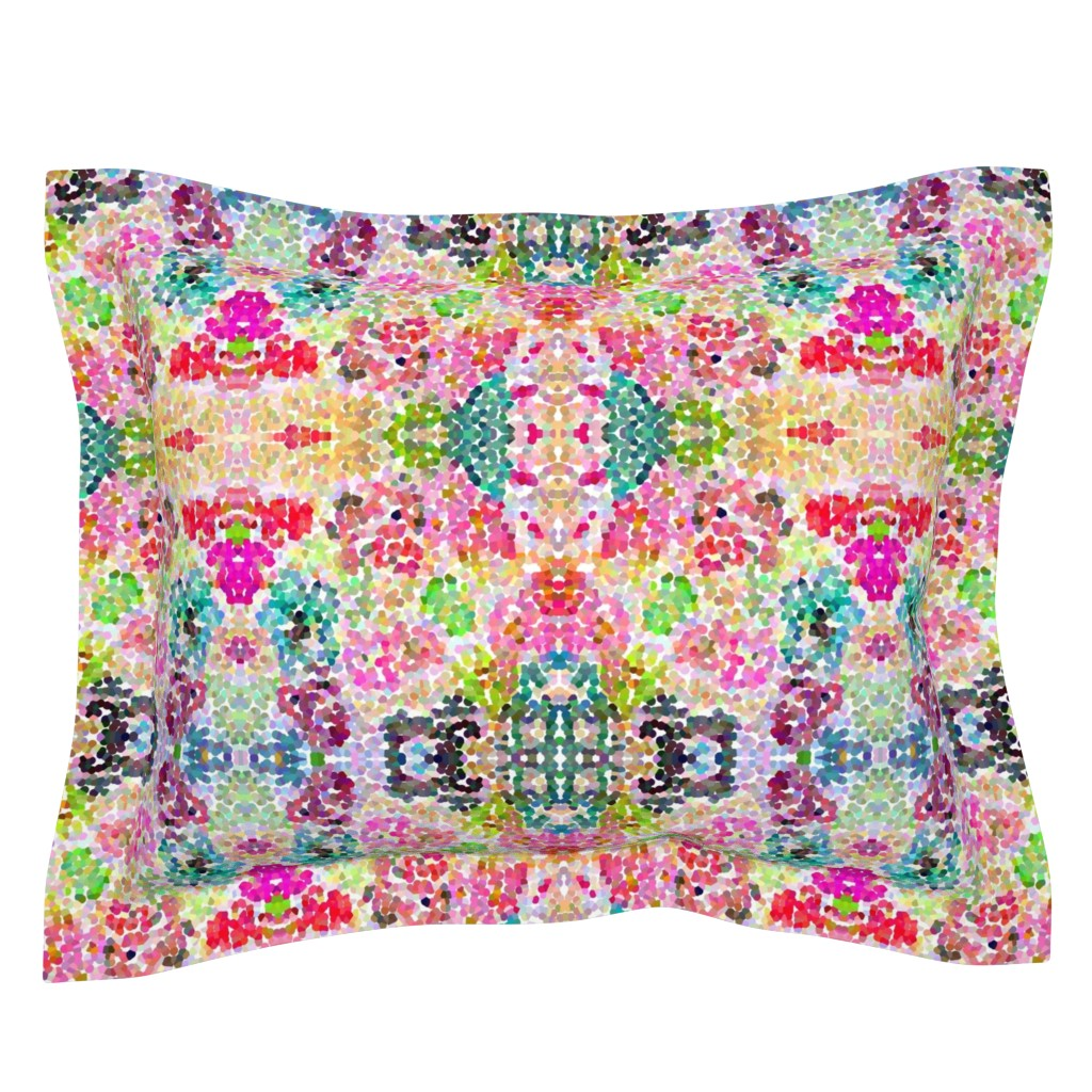 Sebright Pillow Sham featuring Pointillism Inspired Floral Print - Small by theartwerks