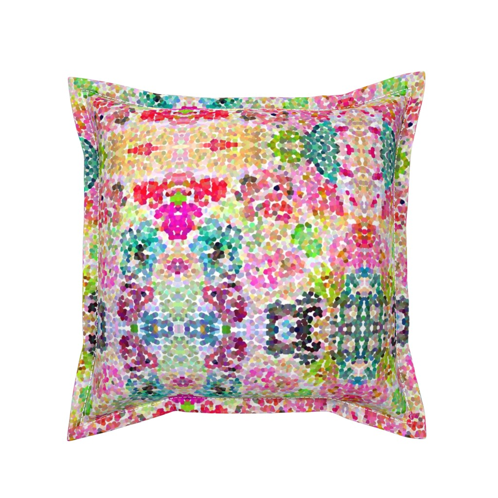 Serama Throw Pillow featuring Pointillism Inspired Floral Print - Small by theartwerks