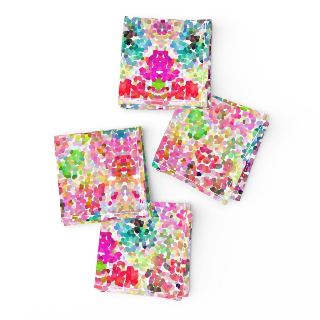 Frizzle Cocktail Napkins featuring Pointillism Inspired Floral Print - Small by theartwerks