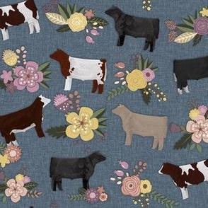 Mixed Floral Steers on Denim