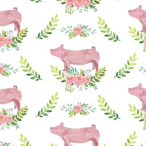 Livestock & Roses - Pigs on White