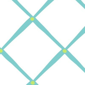 Diamonds and Dots - White Turquoise Lime
