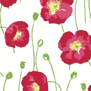 Poppies - red with yellow centers