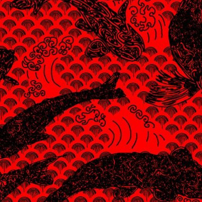 Koi Pond with Waves, Black on Red