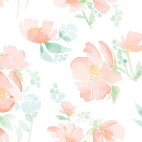 GIANT! Watercolor Field Full of Flowers - Peachy