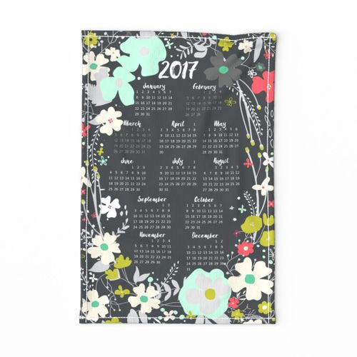 Spring into 2017 Floral Wreath Tea Towel