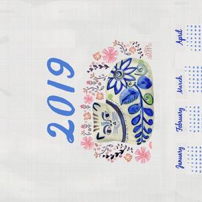 2019 Calendar cat tea towel