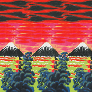 Mount Fuji Vintage Sunset Border Print