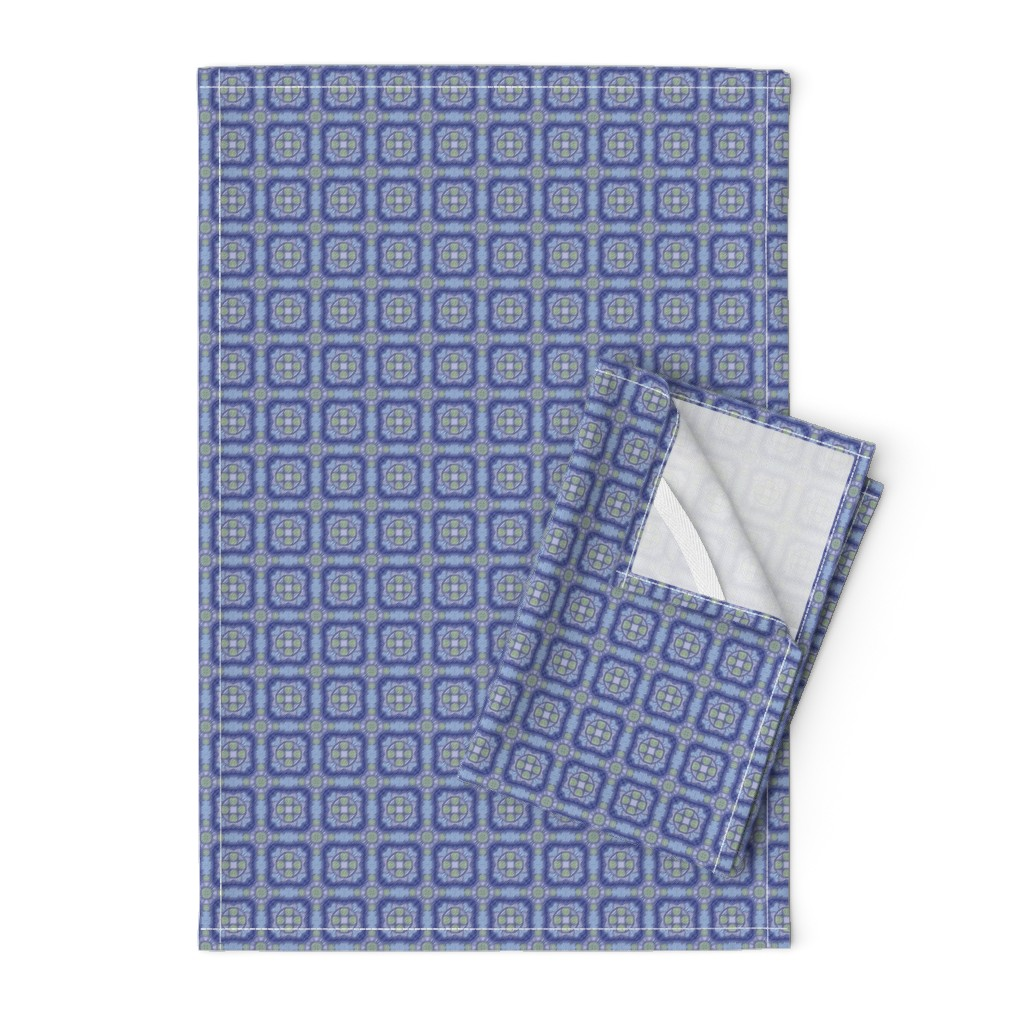 Orpington Tea Towels featuring Cute Ribboned Squares, Navy, Tiny by palifino