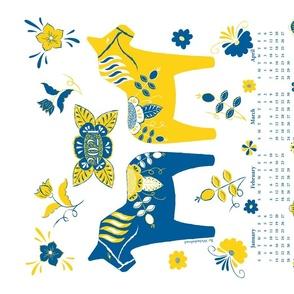 Swedish Dala Horse Tea Towel 2021 Calendar