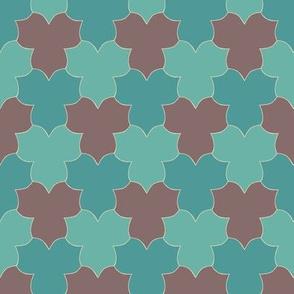 Tessellating Trilliums - seafoam bluegreen cocoa-brown