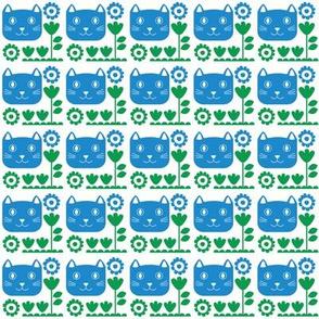 cat garden - blue // happy cat faces with floral motifs