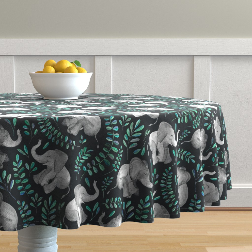 Malay Round Tablecloth featuring Laughing Baby Elephants with Emerald and Turquoise leaves - large print by micklyn