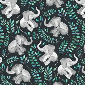 Laughing Baby Elephants with Emerald and Turquoise leaves - large print