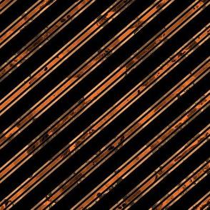 Watercolor Stripe Black Orange