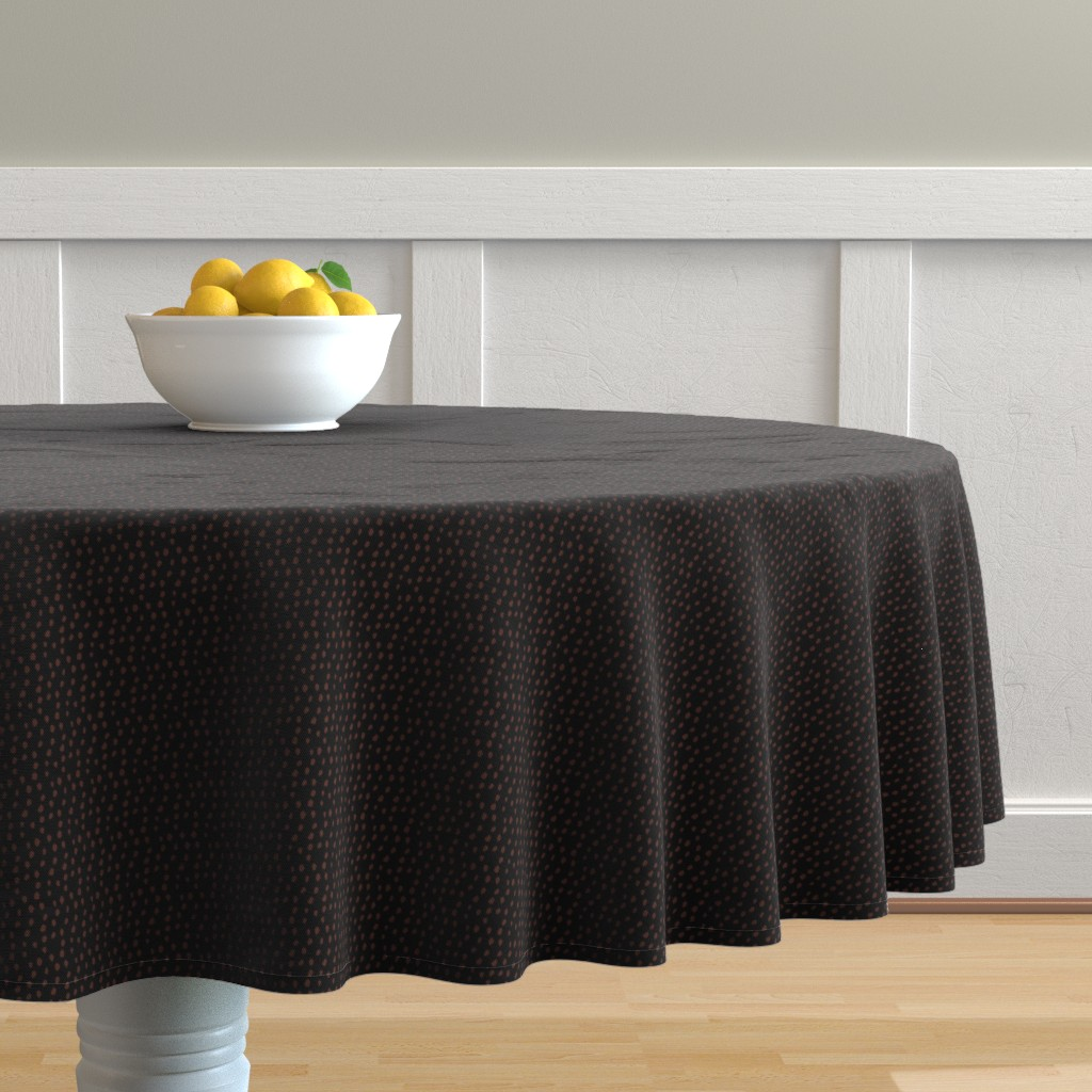 Malay Round Tablecloth featuring Black and Bronze Animal Print by colettegorgas