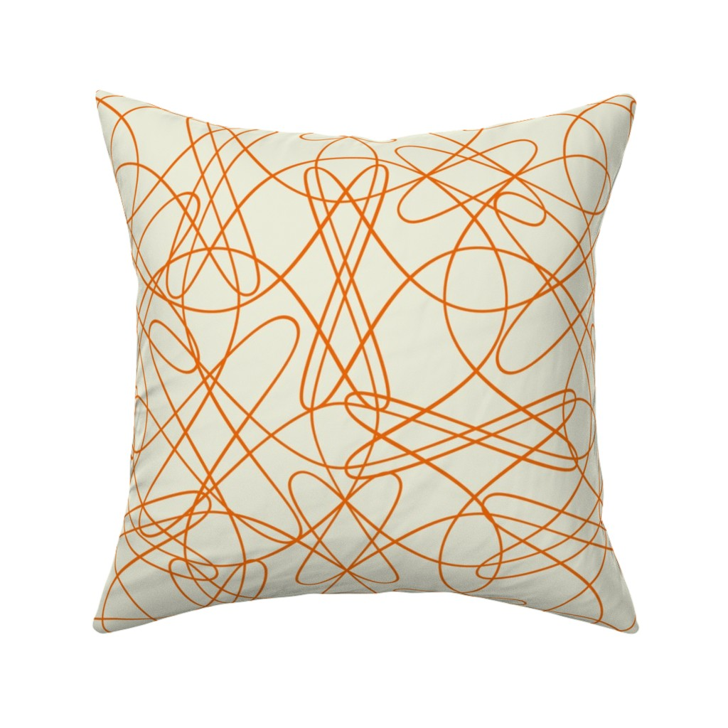 Catalan Throw Pillow featuring Lines and Tangles - Orange by zuzana_licko