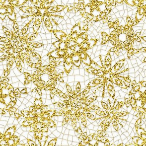 Snowflake Gold Sparkle Lace and Linen