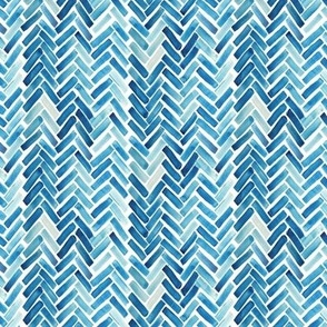 Blue herringbone watercolor small scale