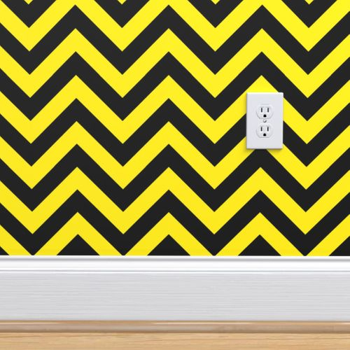 Wallpaper Chevron Black And Yellow Pattern