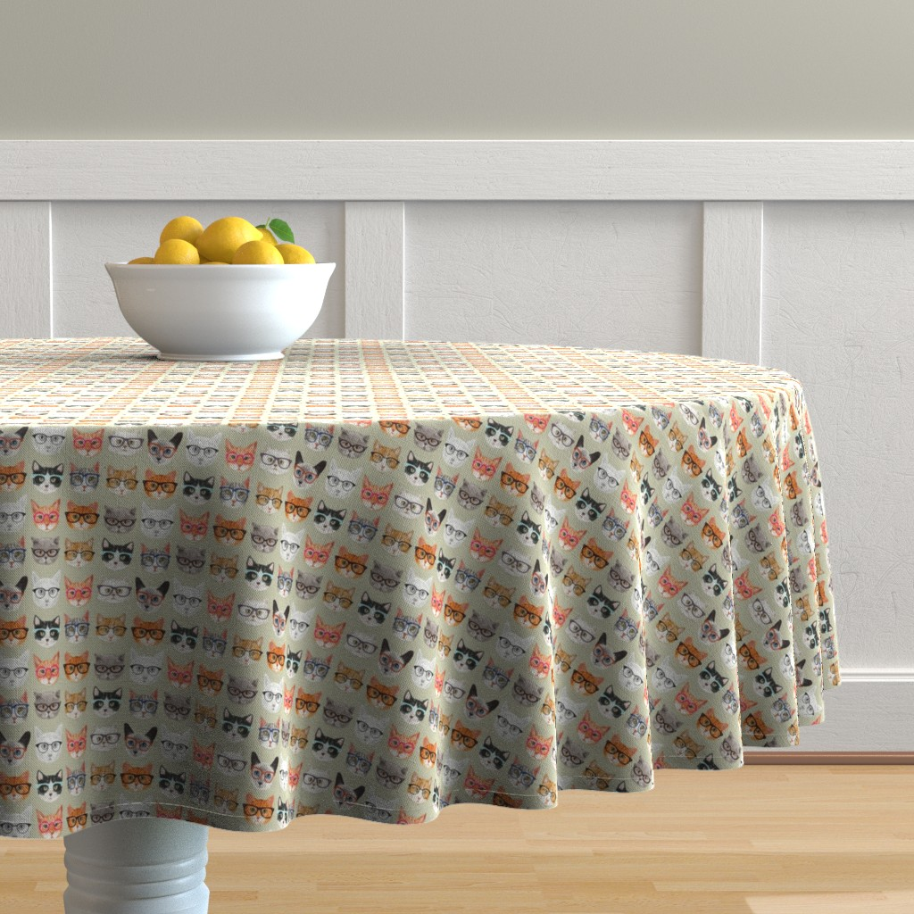 Malay Round Tablecloth featuring Spectacular Cats by cynthia_arre