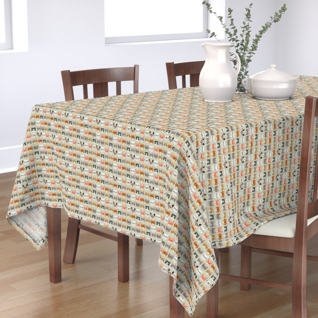 Bantam Rectangular Tablecloth featuring Spectacular Cats by cynthia_arre