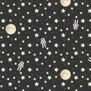Space - Stars, Moon and Astronauts on black