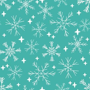 winter snowflakes // aqua turquoise snowflake design cute snowflake fabric best holiday fabrics cute christmas patterns and prints andrea lauren andrea lauren fabric