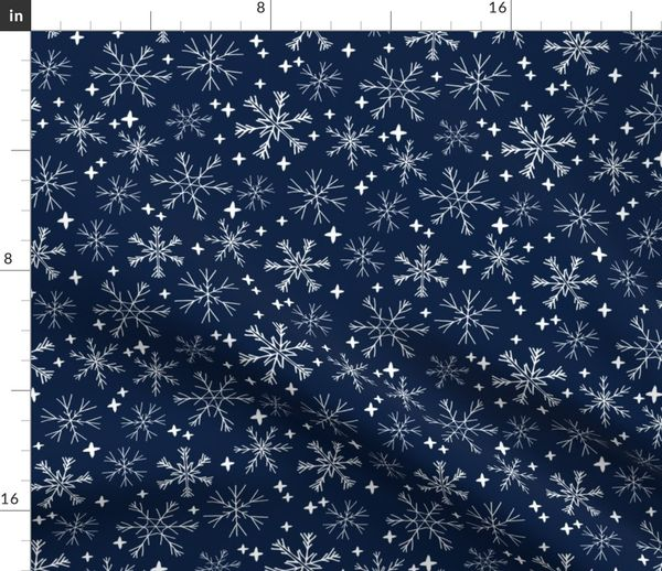 Christmas Snowflakes.Fabric By The Yard Winter Snowflakes Navy Blue Dark Blue Snowflake Pattern Snowflake Fabric Cute Snowflakes Best Xmas Holiday Christmas Design